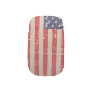 Weathered, Distressed American USA Flag Minx Nail Art