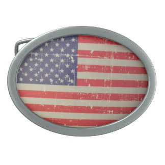 Weathered, Distressed American USA Flag Oval Belt Buckles