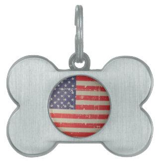 Weathered, Distressed American USA Flag Pet Name Tag