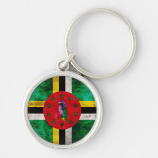 Weathered Dominica Flag Silver-Colored Round Keychain