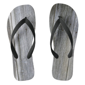 Weathered Door Planks Flip Flops