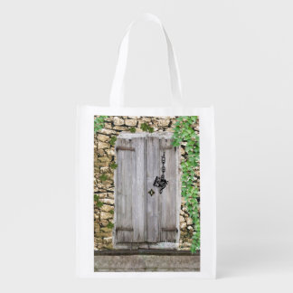 Weathered Door with Music Clef Keys Reusable Grocery Bag