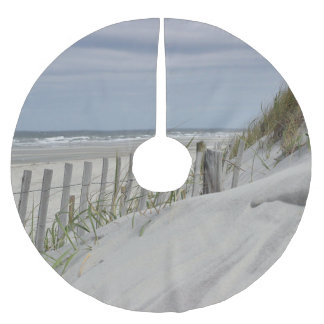 Weathered fence and sand dunes at the beach brushed polyester tree skirt