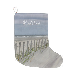 Weathered fence and sand dunes at the beach large christmas stocking