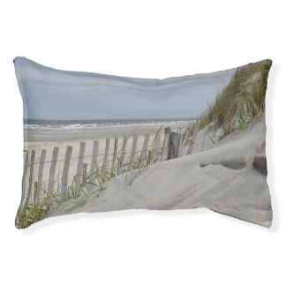 Weathered fence and sand dunes at the beach pet bed