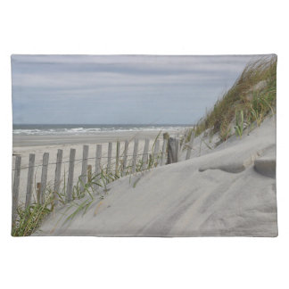 Weathered fence and sand dunes at the beach placemat