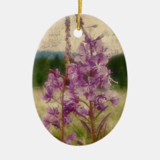 Weathered Fireweed; No Greeting Ceramic Oval Ornament