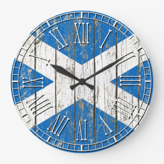 Weathered Flag of Scotland Large Clock