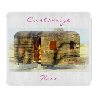 Weathered gypsy caravan Thunder_Cove any color Cutting Board