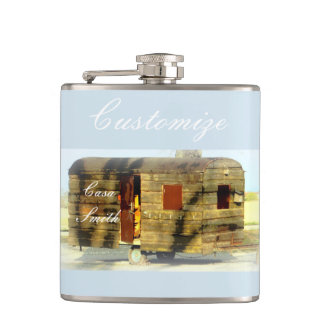 Weathered gypsy caravan Thunder_Cove any color Hip Flask