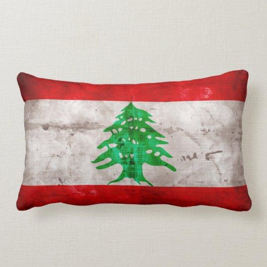 Weathered Lebanon Flag Lumbar Pillow
