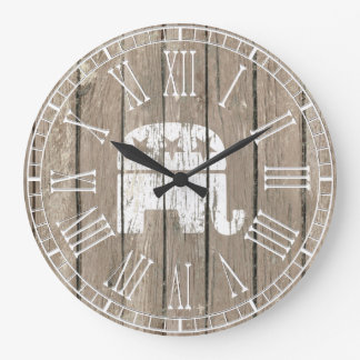 Weathered Look Republican GOP Symbol Large Clock
