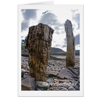 Weathered Net Posts by the Loch Birthday Card