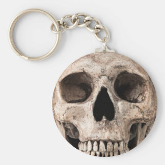 Weathered Old Skull Basic Round Button Keychain