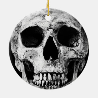 Weathered Old Skull - Black & White Ceramic Ornament