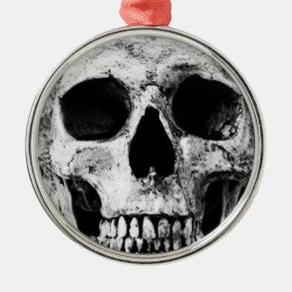 Weathered Old Skull - Black & White Metal Ornament