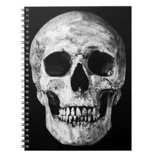 Weathered Old Skull - Black & White Spiral Note Book