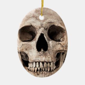 Weathered Old Skull Ceramic Ornament