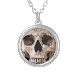 Weathered Old Skull Silver Plated Necklace