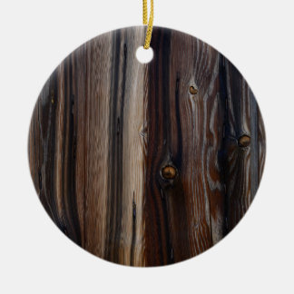 Weathered Old Wood Wall Texture Round Ceramic Ornament