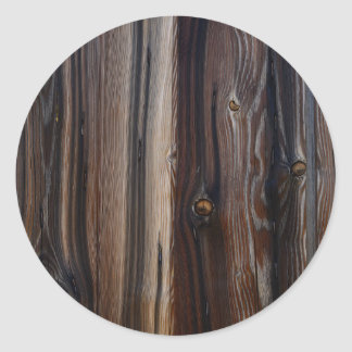 Weathered Old Wood Wall Texture Round Sticker