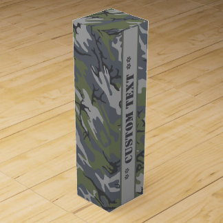 Weathered Outcrop Camo w/ Custom Text Wine Gift Box