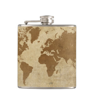 Weathered Parchment World Map Hip Flask