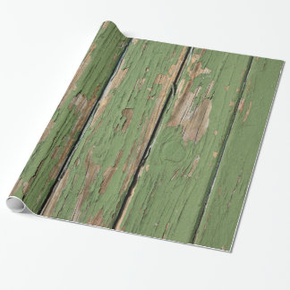 Weathered Peeling Paint on Wooden Boards Wrapping Paper