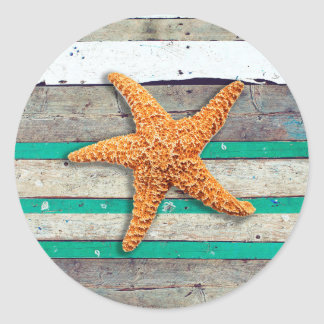 Weathered Plank Beach Board Rustic Classic Round Sticker