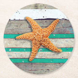 Weathered Plank Beach Board Rustic Round Paper Coaster