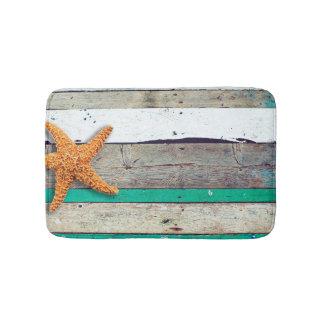 Weathered plank beach rustic seashore bathroom mat