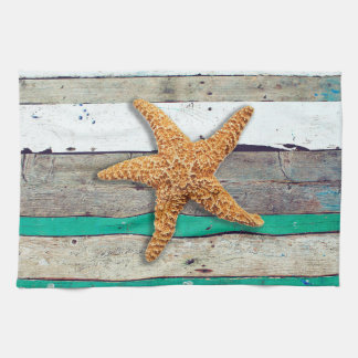 Weathered plank beach rustic seashore kitchen towel