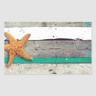 Weathered plank beach rustic seashore sticker