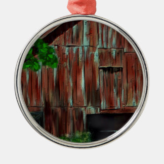 Weathered Red Barn Silver-Colored Round Ornament