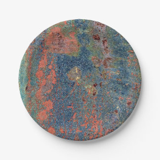 Weathered Rusty Metal Texture 7 Inch Paper Plate