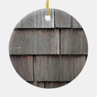 Weathered Shingles Round Ceramic Ornament