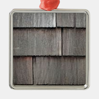 Weathered Shingles Silver-Colored Square Ornament