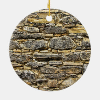 Weathered Stone Old Wall Texture Round Ceramic Ornament