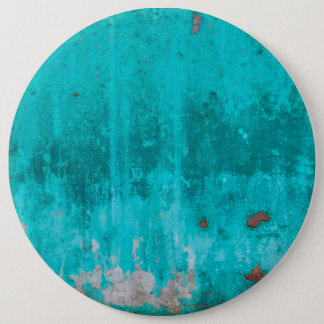 Weathered turquoise concrete wall texture 6 inch round button
