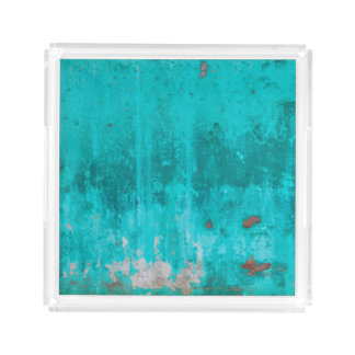 Weathered turquoise concrete wall texture acrylic tray