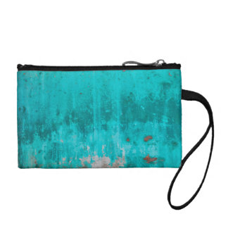 Weathered turquoise concrete wall texture coin purses