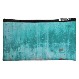 Weathered turquoise concrete wall texture cosmetic bags