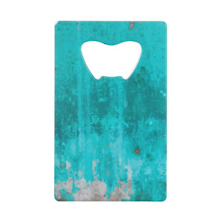 Weathered turquoise concrete wall texture credit card bottle opener
