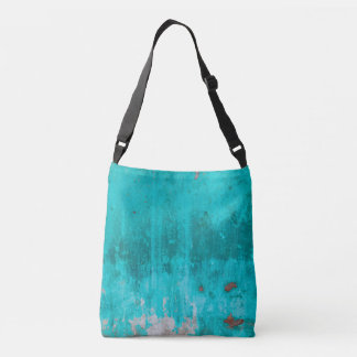 Weathered turquoise concrete wall texture crossbody bag