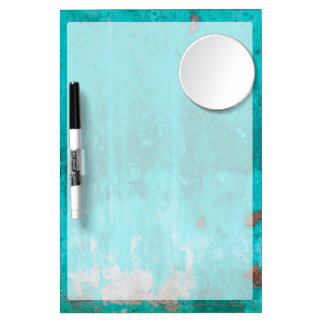 Weathered turquoise concrete wall texture dry erase board with mirror