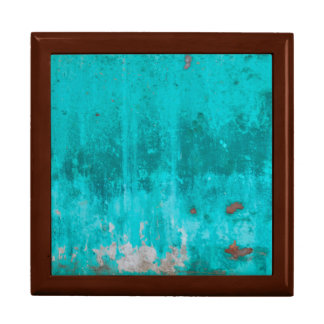Weathered turquoise concrete wall texture gift box