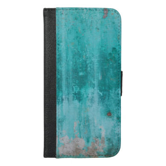 Weathered turquoise concrete wall texture iPhone 6/6s plus wallet case
