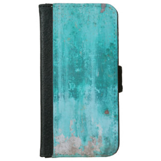 Weathered turquoise concrete wall texture iPhone 6 wallet case