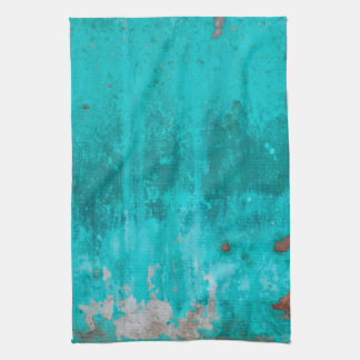 Weathered turquoise concrete wall texture kitchen towel