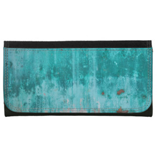 Weathered turquoise concrete wall texture leather wallet